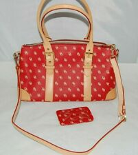 Dooney & Bourke Purse Red & Tan Leather Trim Handbag Serial #K7319819 EUC DS26