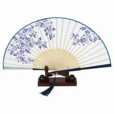 Vintage Chinese Folding Hand Held Fan Japanese Rose Flower Silk Bamboo Fans