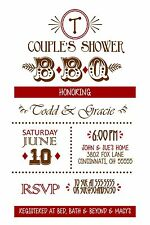 BBQ Couples Bridal Wedding Shower Invitation Any Colors Barbeque
