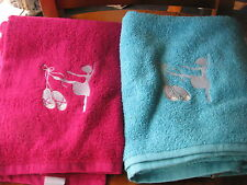 GIRLS PERSONALIZED TOWELS BALLERINA DESIGN CHOOSE FROM PINK OR AQUA GREAT GIFT