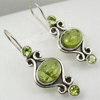 """925 Sterling Silver Unseen PERIDOT 3 STONE GORGEOUS Dangle Earrings 1.5"""""""