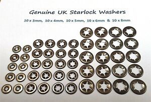 Star Lock Push On Grab Speed Clamp Fasteners Clips Washers  50 Peice