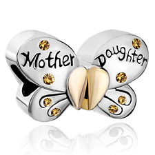 Mom Mother Daughter Butterfly Birthstone Charm Beads Pandora Jewelry Bracelet