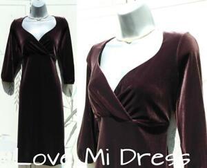 Marks & Spencer - Gorgeous Velvet Style Aubergine Evening Dress Sz 12 EU40