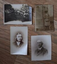 4 Small Very Old Photographs - Portraits & a Group Photo of a Picnic