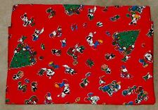 "Vtg. WALT DISNEY Minnie MICKEY MOUSE Fabric FLANNEL Material CHRISTMAS 92"" x 58"""