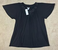 NWT Women's Silhouettes Studded Embellished V-Neck Black Knit Top