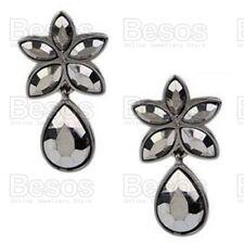RETRO vintage style faceted bead EARRINGS black gunmetal black hematite UK GIFT