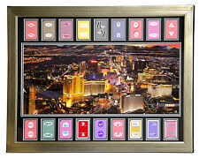 LAS VEGAS HOTELS AUTHENTIC 18 PLAYING CARDS COLLAGE FRAMED #D/100 PANO PHOTO