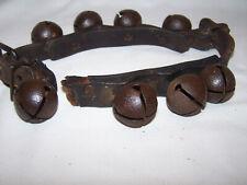 Antique Vintage 8 Metal Steel Sleigh Bells on Leather Belt Strap