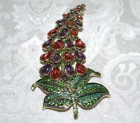 New $200 HEIDI DAUS Massive Foxglove Floral Brooch Pin Swarovski Crystals