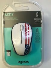 Brand New Logitech M317 Wireless Optical Mouse American Flag USA