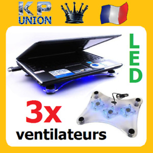 Ventilateur Refroidisseur Ordinateur Portable PC Laptop 3 Ventilateurs LED USB