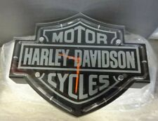 Harley Davidson Etched Bar & Shield Shaped Clock *READ AD* (RS414)