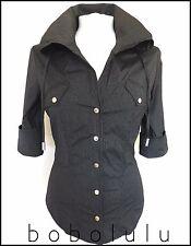 KAREN MILLEN Designer Black Pinstripe Chemise ajustée chemisier top original col 10
