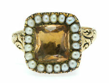 A Wonderful Georgian Topaz & Seed Pearl Ring Dated 1836