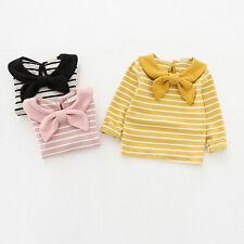 Baby Girls Cotton Shirt Toddler Kid Lapel Collar Stripe Top Basic Casual Clothes