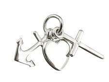 Faith Hope Charity 925 Sterling Silver Anchor Cross Heart Three Charms Triple