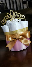 Mini Diaper Cake - Pink and Gold Princess Theme Diaper Cake for Baby