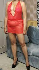 Sheer Micro Mini Dress Women's Red Backless Sleeveless See Thru Club Party