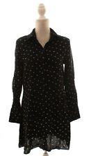 & Other Stories Black Button Down Bird Print Shirt Dress Size 8