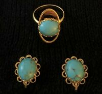 Vintage EARRINGS and RING SET Turquoise Colored Howlite CABOCHONS