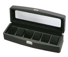 Diplomat Carbon Fiber Six Watch Storage Display Organizer Chest Box Case