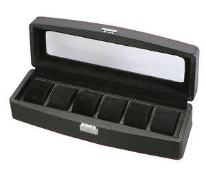 Diplomat Carbon Fiber Six Watch Storage Display Organizer Chest Box Case