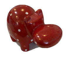 Hand Carved Kisii Soapstone Red Hippopotamus Hippo Animal Figurine Paperweight