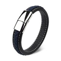 Blue Men Braided Leather Bracelet For Male Gifts Accessories Jewelry Bangle