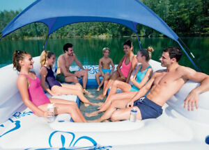 Bestway Tropical Breeze II Inflatable 6-Person Floating Island Lounge Raft