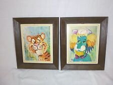 Pr Vtg Mid Century Framed Print Lion and Tiger Wild Animals Michele Kitschy!