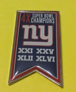 NEW YORK GIANTS 4X SUPER BOWL CHAMPIONS COLLECTOR BANNER PIN