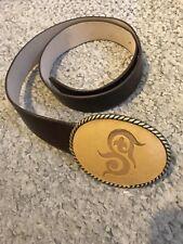 BNWOT Cheryl Dufault Rare Custom Artisan Leather Belt & Symbol Buckle Cowgirl 36