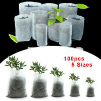 100 Pcs Biodegradable Non-Woven Nursery Bags Plant Grow Bags Set Pots