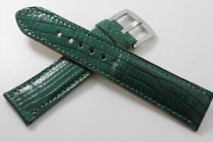 Handmade Genuine Hunter Green Lizard Leather Watch Strap (Made in U.S.A)