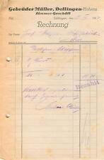 alte Rechnung,  Dettingen (Horb) Gebr. Müller Zimmer-Geschäft 1928 #E750