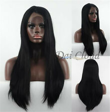 Hot Sale Women Long Black Lace Front Straight Daily Heat Resistant Hair Full Wig