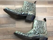 SONORA PYTHON COWBOY BOOTS, Size 7 In Turquoise