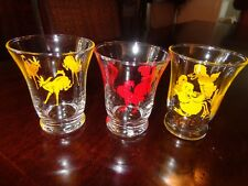 3 Farm Cocktail Tumblers Anchor Hocking / Libby Glass 3.5 oz Duck Rooster Donkey