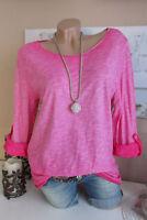 OVERSIZE Vintage Lurex Kanten Batik Blogger L.A.Bacic Longshirt Shirt Pink 36-40