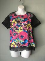 CAMILLA TREE $80 Nordstrom Colorful Women's Blouse Size Small Floral Mesh