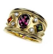 5Ct Oval Amethyst Garnet Emerald Syn Diamond Engagement Ring Yellow Gold Silver