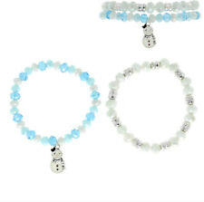 CHRISTMAS BLUE WHITE AND SILVER STRETCH CRYSTAL DANGLE CHARM SET OF 2 BRACELETS