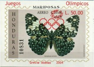 Honduras Stamp - Butterfly sheet overprinted for 2004 Olympics Stamp - NH