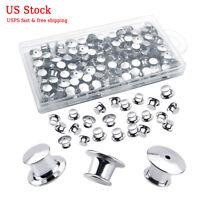 100PCS Metal Pin Backs Pin Keepers Locking Clasp Backs Silver with Storage Box
