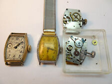 4 NEW HAVEN SQUARE WATCHES AND MOVEMENTS FOR RESTORATION PARTS ONE MOVEMENT RUNS