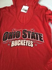 OHIO STATE BUCKEYES Red Hooded Long Sleeve shirt XL Burn-Out Embellished NEW