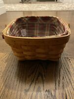 Longaberger Medium Berry Basket With Protector, And Plaid Liner