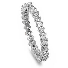 ROUND & PRINCESS RUSSIAN CZ ETERNITY BAND .925 Sterling Silver Ring Sizes 4-12
